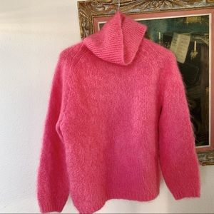 Vintage hot pink fuzzy mohair high neck sweater